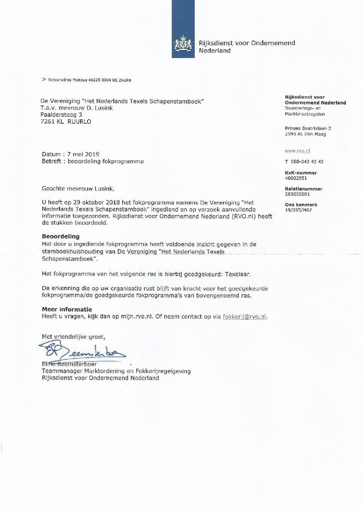 Fokprogramma NTS TSNH is met een positief gevolg beoordeeld door het RVO