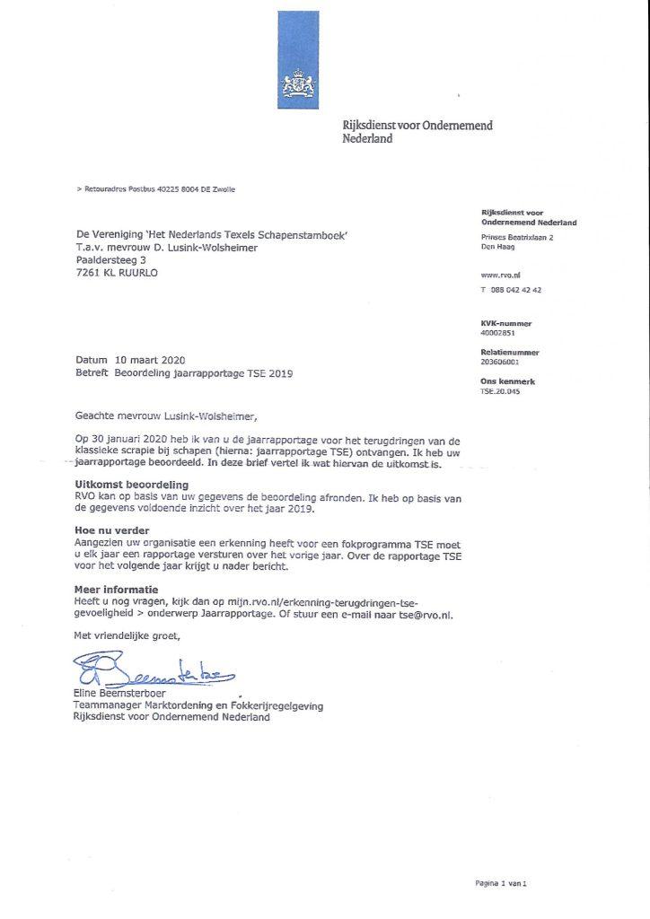 Jaarrapportage voor het terugdringen van de klassieke scrapie bij schapen (TSE) goedgekeurd